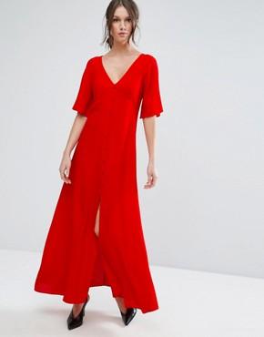red maxi tea dress